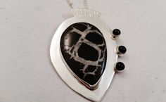 Hand Fabricated Argentium Sterling  Silver, Septarian and Onyx Pendant by DKHandcraftedJewelry on Etsy