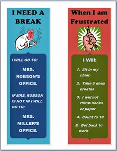 Helping kids stay in control of their behavior. Break card and reminders for students to use in the classroom. These provide great step-by-step tips for various situations that might occur in a middle school classroom. Middle School Counselor, Elementary School Counseling, School Social Work, Elementary Schools, Counseling Office, School School, School Office, School Tips, School Lessons
