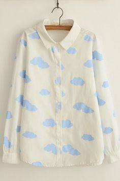 Cloud Print Laple Button Down Long Sleeve Blouse