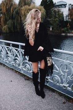 We love the combination of the black boots with the nice dress. High Knees, Black Boots, Nice Dresses, Leather Skirt, Winter Fashion, Knee Highs, Style Inspiration, Winter Style, Skirts