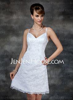 Wedding Dresses - $147.99 - Sheath/Column V-neck Knee-Length Satin  Lace Wedding Dresses With Lace  Beadwork (002000222) http://jenjenhouse.com/Sheath-Column-V-neck-Knee-length-Satin-Lace-Wedding-Dresses-With-Lace-Beadwork-002000222-g222