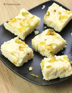 Kalakand, a delicious milk based sweet with hints of cardamon, is yet another way of enjoying the goodness of milk. This Instant Kalakand Recipe requires only three ingredients, sweetened condensed milk, paneer and cardamom, and explains entire process with step by step photos.