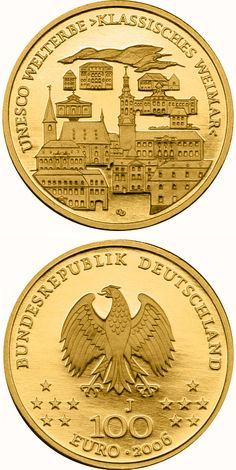 100 euro: UNESCO Welterbe Weimar.Country: Germany Mintage year:	2006 Issue date:	02.10.2006 Face value:	100 euro Diameter:	28.00 mm Weight:	15.55 g Alloy:	Gold Quality:	Proof Mintage:	350,000 pc proof Design:	Dietrich Dorfstecher Mint:	A,D,F,G,J Issue price:	263,00 Euro