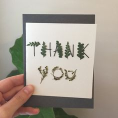 Fern and Flower Thank you Card Botanical by GlassHouseCollection