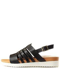 Qupid Strappy Slingback Flatform Sandals: Charlotte Russe