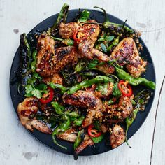 Grilled Chicken Wings with Shishito Peppers and Herbs Recipe
