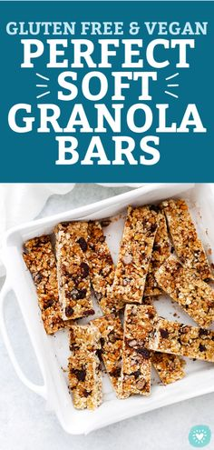 The PERFECT Soft Granola Bars - These chewy homemade granola bars are perfect for snacks or school lunch. Granola Bar Recipe Easy, Healthy Granola Bars, Healthy Protein Snacks, Chewy Granola Bars, Homemade Granola Bars, Healthy Breakfasts, Healthy Kids, High Protein, Eating Healthy