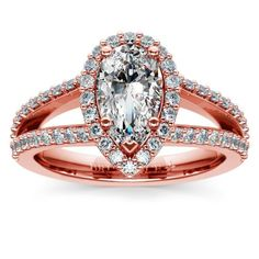 Halo Split Shank Diamond Engagement Ring in Rose Gold | Pear