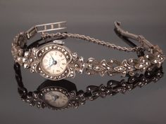 Silver Marcasite Watch Vintage Ladies Wrist by BelmontandBellamy