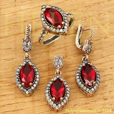Hurrem Sultan Set  Ruby Color Look Ottoman by helenfinejewels