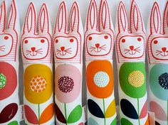 Child's scandinavian softie toy bunny rabbit plush retro Swedish Flower