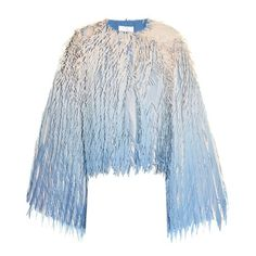 Marco De Vincenzo Laser-cut fringed georgette jacket ($1,674) ❤ liked on Polyvore featuring outerwear, jackets, fringe jackets, blue fringe jacket, blue jackets and marco de vincenzo