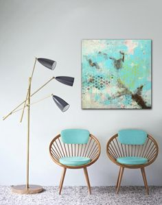 Sweet Turquoise tree  Abstract painting  Ronald by RonaldHunter, $339.00