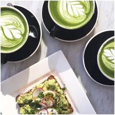 #Chalait.  Green tea latte, avocado toast sandwich