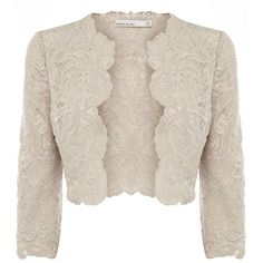Karen Millen Lace Embroidery Jacket (4,525 MXN) ❤ liked on Polyvore featuring outerwear, jackets, tops, bolero, cardigans, neutral, short jacket, lace bolero jacket, bolero jacket and short lace jacket