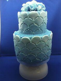 Ocean Blue 'Wave' Wedding cake