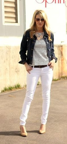 White jeans, black & white striped shirt, denim jacket, statement necklace.