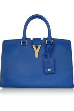 Yves Saint Laurent Ligne Classique Y Cobalt-blue leather tote