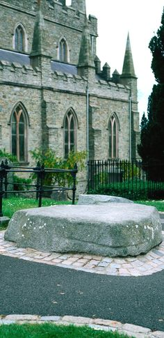 Patrick's Day ~ This stone marks the burial place of St. Patrick in the grounds of Downpatrick Cathedral in County Down, Ireland. Ireland Vacation, Ireland Travel, Holidays Around The World, Around The Worlds, Erin Ireland, Erin Go Bragh, Emerald Isle, British Isles, Northern Ireland