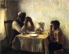 """artwork: Henry O. Tanner - """"The Thankful Poor"""", 1894 - Oil on canvas - 35 x 44 - Collection of William H. and Camille Cosby. On view at the Cincinnati Art Museum, Ohio in """"Henry Ossawa Tanner: Modern Spirit"""" until September African American Artist, American Artists, American Women, American History, American Realism, American Life, Henry Ossawa Tanner, Cincinnati Art, Black Artists"""