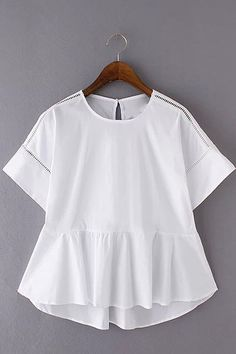 White Hollow Out Frilled Short Sleeve Top - US$15.95 -YOINS