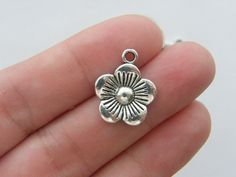 10 Flower charms 19 x 16mm antique silver tone by nicoledebruin, $2.50