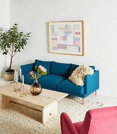 Anthropologie Linde Three-Cushion Sofa   Scandinavian Interior Design   #scandinavian #interior #interiordesign