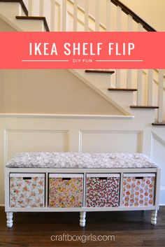 Ikea Shelf Flip Flip that old bookshelf into functional storage bench! Great as a window seat, at the end of your bed or in your child's room! Shelf Flip Flip that old bookshelf into functional storage bench! Great as a window seat, at the end of your bed Ikea Shelves, Ikea Storage, Bedroom Storage, Bookshelf Bench, Old Bookshelves, Bookshelf Storage, Ikea Bookshelf Hack, Ikea Shelf Hack, Kallax Shelving
