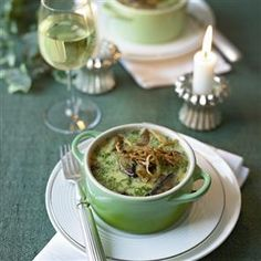 Portobello mushroom and chestnut baked custards recipe. This vegetarian main course is given a festive twist with the addition of chestnuts. Perfect for Christmas lunch.