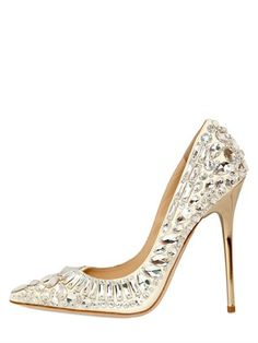 JIMMY CHOO - 120MM RHINESTONES TIA LEATHER PUMPS