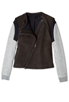 Leather And Cotton Bomber Jacket by Francis Leon