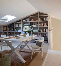 〚 Book lovers' joy: 10 interiors with home libraries 〛 ◾ Photos ◾Ideas◾ Design Home Office, Office Playroom, White Dining Room Chairs, Restoration Hardware Chair, Sweet Home, Home Libraries, Workspace Design, Office Interiors, Interiors Online
