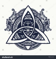Dragons and Celtic knot, tattoo and t-shirt design. Dragons, symbol of the Viking. Helm of Awe, aegishjalmur, celtic trinity knot, northern ethnic style, tattoo.