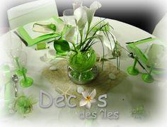 Décoration table arum nature pour un évènement chez soi