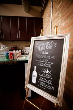 Chalkboard Wine List by masandmillie on Etsy, $65.00