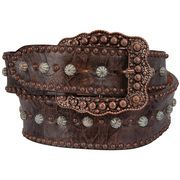 Double J Eagle Dots & Turquoise Patina Brown Western Belt