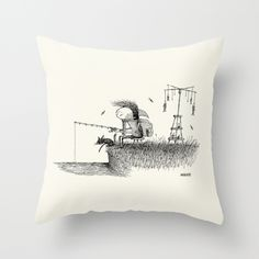 'At The River' Throw Pillow by stareatthesky Couch Pillows, Down Pillows, Black And White Pillows, Designer Throw Pillows, Pillow Design, Pillow Inserts, Hand Sewing, River, Illustration