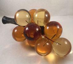 Vintage Mid-Century 60s Amber Acrylic Lucite Plastic Grapes Vine Cluster