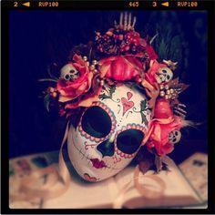 Fall Harvest Mask - Day of the Dead Bat and Heart Pumpkin Feathers Skeleton sugar Skull Bones Dia De los Muertos Calavera mask by HikariDesign on Etsy https://www.etsy.com/listing/108061906/fall-harvest-mask-day-of-the-dead-bat