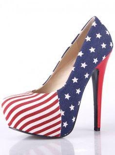 New Women Flag High Heel Striped Pumps