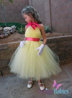 Flower Girl Tutu Dress, Tutu Dresses, Wedding, Flower Girl, Yellow Tulle, Coral Ribbon, Hot Pink Lily, Formal Dresses, Portrait Dress via Etsy