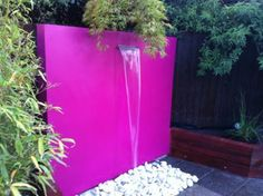 Marshalls Argent Paving Patio with Modern Water Feature - Liverpool Pink Garden, Colorful Garden, Garden Features, Water Features, Small Gardens, Outdoor Gardens, Liverpool, Contemporary Water Feature, Derby