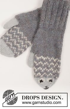 "Mr. Fish - Set consists of: Knitted DROPS mittens and socks with fish pattern in ""Alpaca"". SIZE 0 months - 14 years. - Free pattern by DROPS Design"