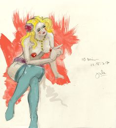 drawing-session at dr-sketchy-berlin, colored
