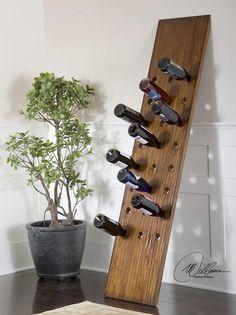 Porta vinhos com uma tábua de madeira — Ecoblogs