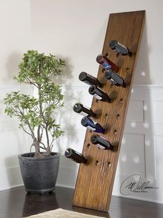 I want to make a huge one !!! A wine rack made from a wooden board — Ecoblogs