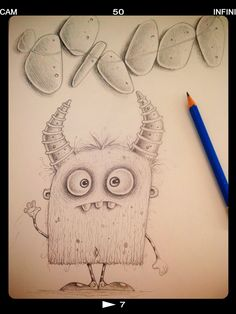 Quick pencil monster sketch.