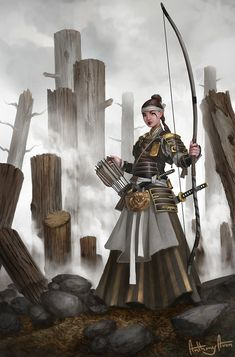 "f Ranger Med Armor Longbow Swords ruins urban Asian Faction sorcerersskull: ""Autumn Guard Archer by AnthonyAvon "" Archer Characters, Dnd Characters, Fantasy Characters, Fantasy Character Design, Character Concept, Character Art, Concept Art, Dragon Samurai, Ronin Samurai"