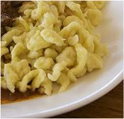 Recipe: Homemade German Spatzel (Egg Noodle). Goes great with schnitzel and red cabbage.   German food.....
