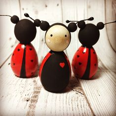 Love bug Valentine's wooden peg dolls by Gabe and Penny. Available from Etsy or Facebook from £7